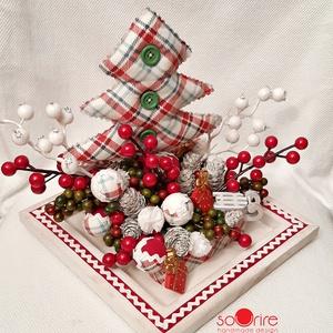 Vidám karácsony, Karácsony & Mikulás, Karácsonyi dekoráció, Varrás, Mindenmás, Imádom a rockabillyt, ezért ezt a kockás anyagot vettem kézbe, ami arra emlékeztet. Megvarrtam a kar..., Meska