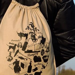 Hungarikumzsák - mogyoró, Táska, Táska, Divat & Szépség, Hátizsák, Festészet, Varrás, 34x42 cm nagyságú pamutvászon hátizsák. A mogyorószínű tornazsákra feketével nyomtuk egyedi mintánka..., Meska