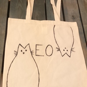 Meow macskás natúr vászontáska, Táska & Tok, Bevásárlás & Shopper táska, Shopper, textiltáska, szatyor, Fotó, grafika, rajz, illusztráció, Sima, egyszerű környezetbarát natúr vászontáska textilfilccel, kézzel festett cica mintával.\nA szaty..., Meska