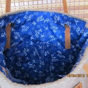 Egy újabb zsákvászon táska kékfestővel díszítve,valódi bőr füllel (spalti51) - Meska.hu