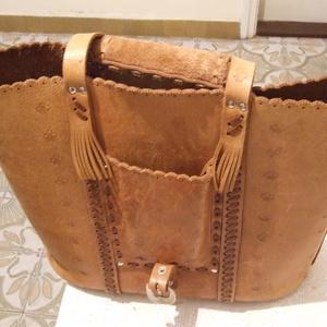 Díszes bőrfűzéses táska minden napi használatra-esetleg laptopnak is használható - Meska.hu