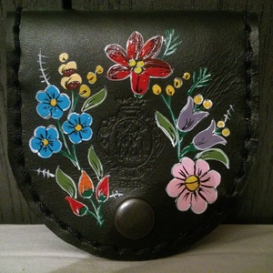 Kalocsai mintával festett kis pénztárca,vagy tükör tartó,illetve púder tartó!! - Meska.hu
