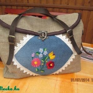 Laptop táska,vagy óriási pakolós táska kalocsi hímzéses farmer betéttel (spalti51) - Meska.hu