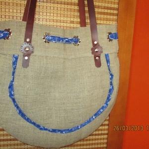 Óriási pakololós táska kékfestővel ,,befűzve,, - Meska.hu