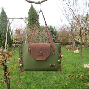 SpaltiDizájn táska3,,Sokminden belefér táska,, zöld barna színben - Meska.hu