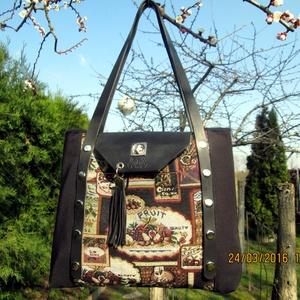 Romantikus táska lepatentolható valódi bőr füllel, Táska & Tok, Válltáska, Kézitáska & válltáska, Bőrművesség, Varrás, Meska