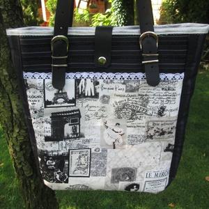 Vintage nosztalgia vászontáska valódi bőr füllel - Meska.hu