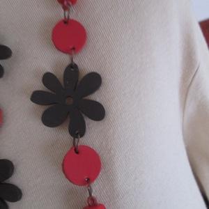 Ékszerszett favirággal és bőrkoronggal,barna -piros variációban (spalti51) - Meska.hu
