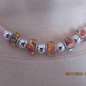 AKCIÓ!!Sodrott zsínóros nyaklánc pandoragyöngyökkel, Ékszer, Gyöngyös nyaklác, Nyaklánc, Ékszerkészítés, Meska