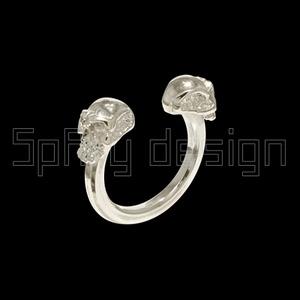 2 koponyás gyűrű, Ékszer, Gyűrű, Figurális gyűrű, Ékszerkészítés, A gyűrű a vevő pontos méretére készűl!\nA méret 46--70 es méret-ig választható.\nA méretet letudjuk ve..., Meska