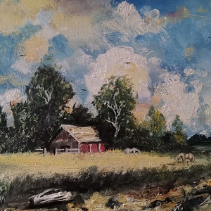 Tanya, Férfiaknak, Festészet, 42x27 olaj farost Bánfi Ferenc festette. , Meska