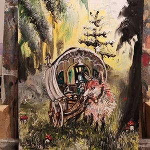 Róka vonta ehos szekér, Karácsony, Festészet, 42x27 olaj farost Bánfi Ferenc festette. , Meska
