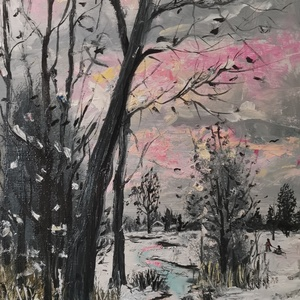 Téli táj, Karácsony, Festészet, 42x27 olaj farost Bánfi Ferenc festette. , Meska