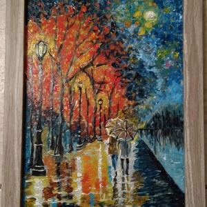 Séta az esőben, Dekoráció, Otthon & lakás, Képzőművészet, Festmény, Vegyes technika, Festészet, Üvegművészet, Üvegre festett kép, üvegfestési technikával készült., 21x30 cm -es üveglapra festve + fa keretben. ..., Meska