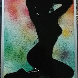 Női akt. Sziluett. 2 féle. Üvegfestmény, Festmény vegyes technika, Festmény, Művészet, Festészet, Üvegművészet, Női akt 4 féle változatban. - Speciális üvegfestési technikával készült, melyet szépen csillogó felü..., Meska