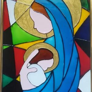 Szűz Mária a kideddel. Üvegfestmény., Karácsony, Otthon & lakás, Esküvő, Dekoráció, Festészet, Üvegművészet, Üveglapra festett kép. Üvegfestési technikával készült, 18-szor 24cm-es méretben 4000 FT, vagy 21*30..., Meska