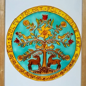 Életfa Hun. Üveg kép, Kép & Falikép, Dekoráció, Otthon & Lakás, Festészet, Üvegművészet, Üveglapra festett kép. Üvegfestési technikával készült 21*30 cm-es méretben bekeretezve., Meska