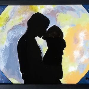 Szerelmes pár. Hold Meditáció. /Összetartozás/ üvegfestmény., Esküvő, Otthon & lakás, Dekoráció, Kép, Festészet, Üvegművészet, 21*30 cm-es üveglapra kézzel festett kép.\nÜvegfestési technikával készült. Szerelmeseknek. Párkapcso..., Meska
