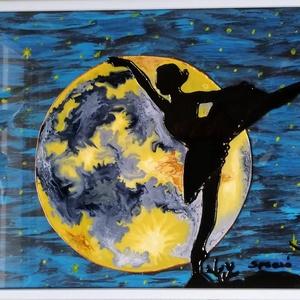 Balerina a holdfényben. / Üvegfestmény. /, Otthon & lakás, Dekoráció, Kép, Festészet, Üvegművészet, 21*30 cm-es üveglapra kézzel festett kép.\nÜvegfestési technikával készült.\nBekeretezve 32*32cm...., Meska