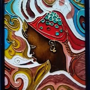 Afrikai színei./ néger lány /üvegfestmény., Művészet, Festmény, Festmény vegyes technika, Festészet, Üvegművészet, Kedves látogató!!!!!!!!!! örülök, hogy benézett hozzám !!!!!!!!!!!\n\nEz az afrikai hangulatú kép egy ..., Meska