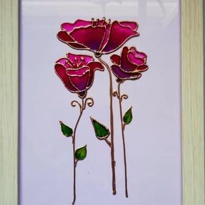 Stilizált virágok. Anyák napjára tökéletes ajándék.4 féle változatban. Űvegfestmény., Otthon & lakás, Dekoráció, Kép, Festészet, Üvegművészet, Űveglapra festett kép. Űvegfestési technikával készűlt. Bekeretezve kb. 24-34 cm kerettől függően. V..., Meska
