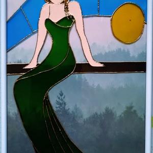 Űlő nő, üvegfestmény, sziluett. 2 féle változatban. Üvegre festett dekorációs falikép., Kép & Falikép, Dekoráció, Otthon & Lakás, Festészet, Üvegművészet, Kedves látogató, köszöntöm a virtuális boltomban. \nEz a kép egy üveglapra festett kép. Egy ülő nő sz..., Meska