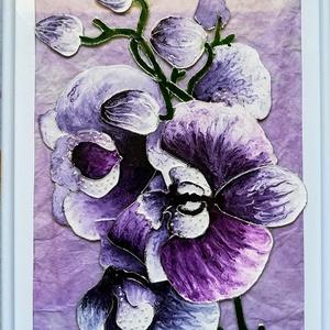 Orhideák 3 féle változatban.Virág ami garantáltan nem hervad el. Üvegfestmény. Anyáknapjára v. egyéb alkalmakra., Művészet, Festmény, Festmény vegyes technika, Festészet, Üvegművészet, Specális üvegfestési technikával készült kép 21-szer 30 cm-es üveglapra festettem. Orhideák 3 féle v..., Meska