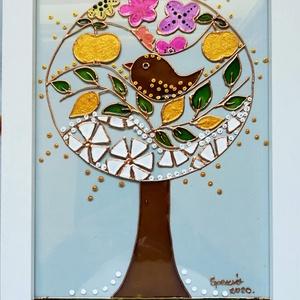 Életfa / Évszakok /. Stilizált üvegfestmény., Festmény vegyes technika, Festmény, Művészet, Festészet, Üvegművészet, Speciális üvegfestési technikával készült kép 21-szer 30 cm-es üveglapra festve.Bekeretezve mérete k..., Meska