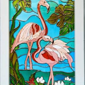 Flamingók. Üvegfestmény., Festmény vegyes technika, Festmény, Művészet, Festészet, Üvegművészet, Üveglapra festett kép, bekeretezve. Üvegfestési technikával készült festmény.\nMérete kb. 25-ször 34 ..., Meska