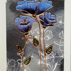 Stilizált virágok.  Virág ami garantáltan nem hervad el !!!/4 féle szín/. Festett üvegkép,üvegfestmény., Festmény vegyes technika, Festmény, Művészet, Festészet, Üvegművészet, Kedves látogató. Köszöntöm, hogy benézett a virtuális boltomba !!!\n Ezek üvegre festett virágok, - a..., Meska