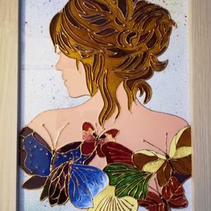 Hölgy pillangókkal./ 2 féle változatban/ Üvegfestmény., Művészet, Festmény, Festmény vegyes technika, Festészet, Üvegművészet, Üveglapra festett képek. Speciális üvegfestési technkával készítettem, - melyet szépen csillogó felü..., Meska