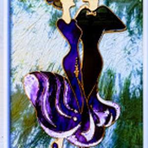 TANGÓ.  Táncospár 2 féle színben. Üvegfestmény., Festmény, Művészet, Festmény vegyes technika, Festészet, Üvegművészet, Kedves látogató, köszönöm, hogy benézett a boltomba !!!\nEzt a táncoló párt egy speciális üvegfestési..., Meska