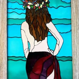 Tahiti lány. Üvegfestmény, Festmény vegyes technika, Festmény, Művészet, Festészet, Üvegművészet, Üveglapra festett kép bekeretezve. Üvegfestési technikával készült. Mérete kb 25-szer 33cm.\nAz üvegf..., Meska