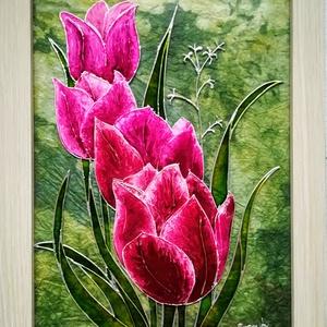 Tulipánok. Tökéletes anyák napi ajándék.Több változat. Virág, ami garantáltan nem hervad el., Esküvő, Otthon & lakás, Dekoráció, Festészet, Üvegművészet, Üveglapra festett kép bekeretezve. \nÜvegfestési technikával készült. \nMérete kerettel együtt 25-ször..., Meska