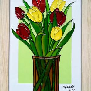 Tulipánok Üvegfestmény /Virág, ami garantáltan nem hervad el/ Több változatban., Művészet, Festmény, Festmény vegyes technika, Festészet, Üvegművészet, Kedves leendő vásárlóm! Köszönöm, hogy benézett hozzám. \nEzeket a tulipánok olyan virágok, amelyek g..., Meska