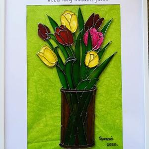 Anyáknapi köszöntő. Tulipános üvegfestmény., Otthon & lakás, Dekoráció, Ünnepi dekoráció, Anyák napja, Festészet, Üvegművészet, 21-szer 30cm-es üveglapra festett kép anyáknapi köszöntő versikével.\nBekeretezve szállitom. \nAz üveg..., Meska