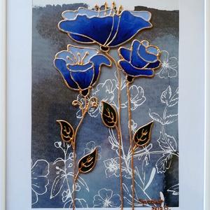 Anyáknapjára köszöntő. Stilizált virágok. Üvegfestmény több változatban., Otthon & lakás, Dekoráció, Ünnepi dekoráció, Anyák napja, Festészet, Üvegművészet, 21-szer 30 cm-es üveglapra festett kép, az ár kerettel együtt értendő. Törésbiztos csomagolásban, tö..., Meska