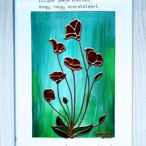 Anyáknapi köszöntő. Üvegfestmény narancs színű virágokkal. többféle háttérrel., Otthon & lakás, Dekoráció, Ünnepi dekoráció, Anyák napja, Festészet, Üvegművészet, Üveglapra festett kép. Bekeretezve 25-ször 34cm. Az ár kerettel együtt értendő.\nSpeciális üvegfestés..., Meska