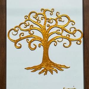 Életfa /ezüst és arany színben/. Üvegre festett falikép, üvegfestmény., Művészet, Festmény, Festmény vegyes technika, Festészet, Üvegművészet, Kedves látogató.-  Köszönöm, hogy benézett a virtuális boltomba !!!\nEzeket az Életfákat egy speciáli..., Meska