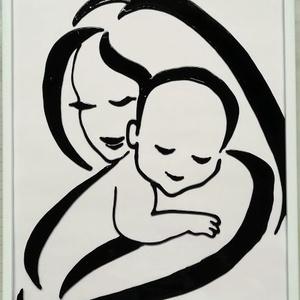 """Anya gyermekével ./ Sziluett / Gyermekáldás, babavárás /. Festett üveg falikép, üvegfestmény., Otthon & Lakás, Dekoráció, Kép & Falikép, Festészet, Üvegművészet, Kedves látogató. Köszönöm, hogy benézett hozzám !!!!\n Ezt a fekete - fehér -  \""""Anya gyermekével \""""-  ..., Meska"""