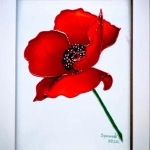 Pipacsos képek. Virág, ami soha nem hervad el. Több változat., Festmény vegyes technika, Festmény, Művészet, Üvegművészet, Festészet, Kedves Vásárló!   Köszönöm, hogy benézett hozzám.\nEzeket a pipacsos képeket 21- szer 30 cm- es üvegl..., Meska
