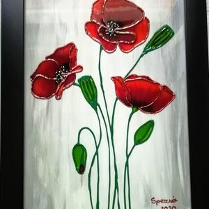 Pipacsok üvegre festve. Virág ami garantáltan soha nem hervad el, több változatban. Üvegfestmény., Festmény vegyes technika, Festmény, Művészet, Üvegművészet, Festészet, Kedves leendő vásárlom!   \nEzek a pipacsok - olyan virágok, - amik garantáltan soha nem hervadnak el..., Meska