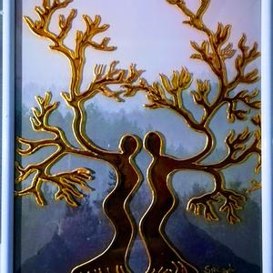 Életfa páros. /Kapcsolat / Üvegfestmény., Művészet, Festmény, Festészet, Üvegművészet,  Saját tervezésű kép. Életfa páros. A férfi és nő kapcsolatát szimbolizálja. Speciális üvegfestési t..., Meska
