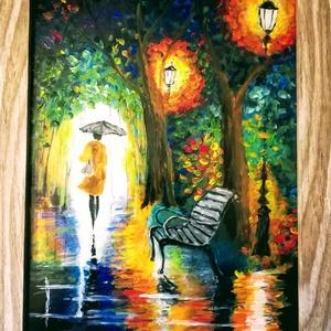 Séta az esőben üvegre festve. Több változat., Művészet, Festmény, Festmény vegyes technika, Festészet, Üvegművészet,  Kedves leendő vásárlóm!!!!!!!! Köszönöm, hogy benézett hozzám.\n\nEzeket a képeket egy specális üvegf..., Meska