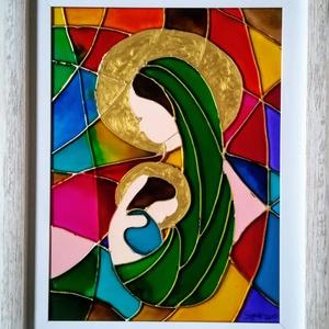Szűz Mária a kideddel. Üvegfestmény. Több méretben., Művészet, Festmény, Festmény vegyes technika, Festészet, Üvegművészet,  -Ezt a képet speciális  üvegfestési technikával készítettem , melyet szépen csillogó felületek és é..., Meska
