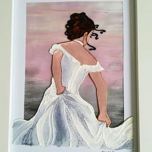 """Esküvőre várva. \""""Az Ara\"""" /Lány hófehérben/. Üvegfestmény, Művészet, Festmény, Festmény vegyes technika, Üvegművészet, Festészet, - Ez a kép egy fiatal lányt ábrázol, - aki éppen a mennyegzőjére készül, - a várakozás utolsó pillan..., Meska"""
