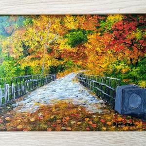 Őszi varázs./Az ősz színei./Üvegre festett kép., Művészet, Festmény, Festmény vegyes technika, Üvegművészet, Festészet, Kedves látogató!!!!!!!!!! \nEz a képemet az ősz varázlatos színei inspirálták, - ami akár az otthona ..., Meska