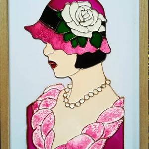 Rózsás kalapban./Tíffany mű ichletésében/ Romantikus dekorációs üvegfestmény., Művészet, Festmény, Festmény vegyes technika, Üvegművészet, Festészet, Kedves látogató!!!  Köszöntöm az oldalamon!!!\nEzt az üvegfestményt Tiffany híres üvegművész munkássá..., Meska