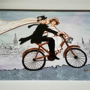 Kerék PÁR-os páros. Biciklis képek szerelmeseknek.  Üvegfestés, Művészet, Festmény, Festmény vegyes technika, Üvegművészet, Festészet, Kedves látogató !!!   Köszönöm, hogy benézett hozzám !!!\n Ebben a blokkban két biciklis kép van: - a..., Meska