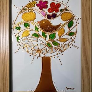 Arany alma életfa. /Életfa, - évszakok /. Népies, stilizált üvegfestmény., Festmény vegyes technika, Festmény, Művészet, Festészet, Üvegművészet, Kedves látogató! -  Köszönöm , hogy benézett a boltomba.\nEzt az Életfát speciális üvegfestési techni..., Meska